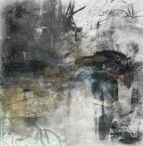 Nebel, Landschaft, Gebäude, Schwarz weiß