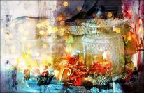 Kerzen, Geschenk, Weihnachten, Mischtechnik