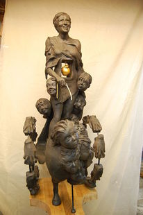 Tonplastik, Keramikfigur, Charakterkopf, Bewegung