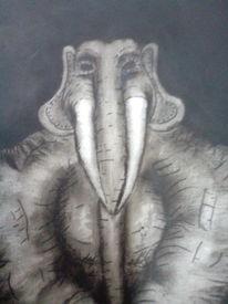 Schwarzweiß, Gigant, Elefant, Malerei