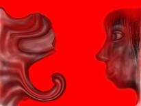 Kopf, Frau, Rot, Schwarz