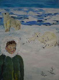 Bär, Tiere, Kind, Eis
