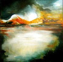 Sonnenuntergang, Ölmalerei, Nebel, Malerei