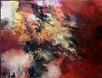 Abstrakte kunst, Zeitgenössisch, Rot, Gold