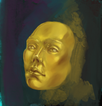 Kopf, Gold, Gesicht, Digitale kunst