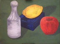 Studie, Flasche, Farben, Gelb
