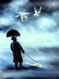 Surreale bilder, Malerei, Mann, Fisch