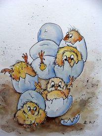 Tierkarikatur, Karikatur, Ostern, Aquarell