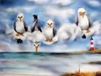 Tierkarikaturen, Vogel, Malerei, Wolken