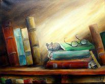 Maus, Bücher, Pause, Malerei