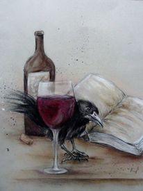 Krähe, Rabe, Rabenzeichnung, Zeichnungen