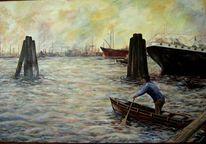 Wasser, Zorns hafen, Dämmerung, Malerei