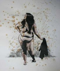 Akt, Pose, Zeichnung, Curvy