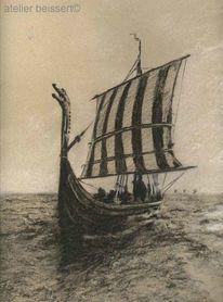 Drachenboot, See, Skandinavien, Meer