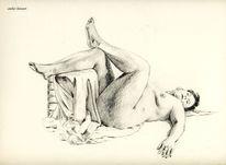 Frau, Akt, Curvy, Erotik