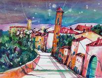 Campanile, Toskana, Himmel, Haus