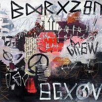 Mixed media, Ausdrucksmalerei, Schrift, Collage