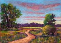 Landschaft, Pastellmalerei, Baum, Weg