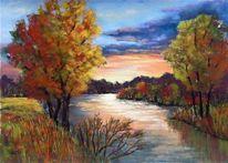 Baum, Landschaft, Fluss, Wasser