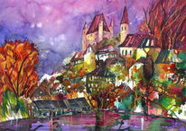 Stadtansicht, Aquarellmalerei, Thun, Aquarell