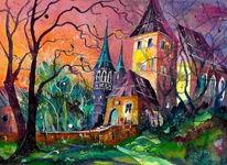 Aquarellmalerei, Schloss, Worb, Architektur