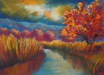 Stille, Stimmung, Pastellmalerei, Landschaft