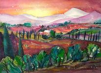 Aquarellmalerei, Landschaft, Toskana, Malerei