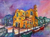 Stadtansicht, Aquarellmalerei, Venedig, Malerei