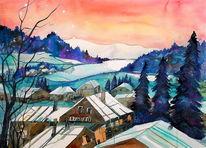 Winterlandschaft, Winter, Baum, Schneelandschaft