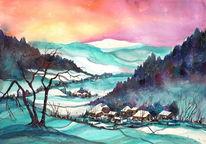 Schneelandschaft, Aquarellmalerei, Landschaft, Winterlandschaft
