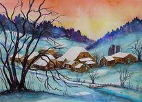 Schnee, Winter, Schneelandschaft, Bauernhaus