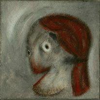 Kopf, Rot schwarz, Weiß, Malerei