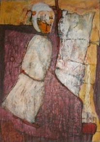Abstrakt, Figur, Acrylmalerei, Tuschmalerei