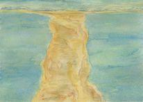 Aquarellmalerei, Insel, Sandbank, Meer