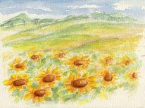 Landschaft, Sonnenblumen, Aquarellmalerei, Aquarell