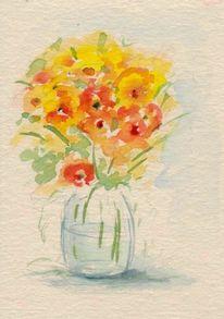 Vase, Stillleben, Blumen, Aquarell