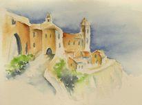 Aquarellmalerei, Häuser, Landschaft, Aquarell