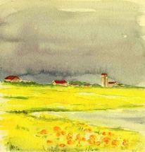 Himmel, Aquarellmalerei, Haus, Landschaft