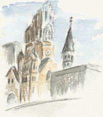 Aquarellmalerei, Kirche, Aquarell, Roots
