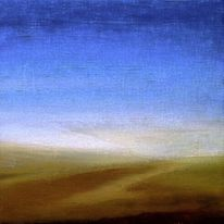 Landschaft, Acrylmalerei, Ocker, Blau