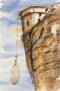 Kloster, Varlaam, Aquarellmalerei, Griechenland