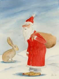 Weihnachtsmann, Nikolaus, Pelzmärtel, Aquarell