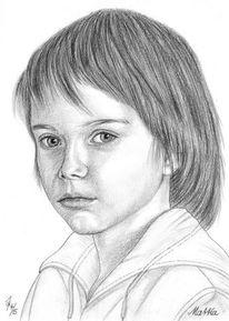 Detailtreu, Portrait, Bleistiftzeichnung, Kinder