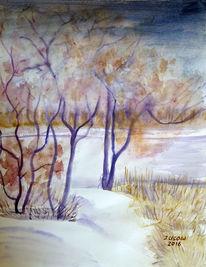 Aquarellmalerei, Schnee, Landschaft, Baum