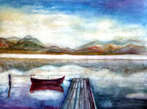 Boot, Aquarellmalerei, See, Landschaft