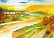 Fluss, Landschaft, Herbst, Aquarellmalerei