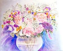 Stillleben, Rose, Aquarellmalerei, Blumenstrauß