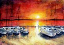 Natur, Boot, Meer, Temperamalerei