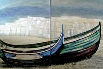 Acrylmalerei, Berge, Boot, Algarve