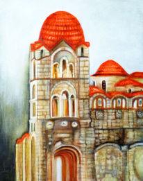 Acrylmalerei, Architektur, Kloster, Malerei